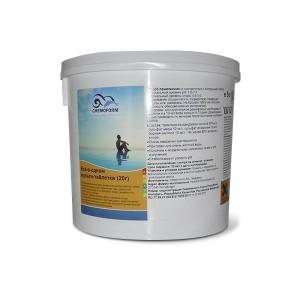 Многофункциональные 3 в 1 медленнорастворимые стаб. таблетки хлора 80%,  20гр., 25 кг /0508025