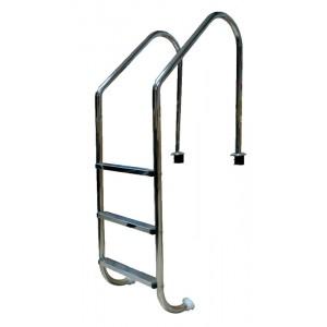 Лестница L, 2 ступ. с накладкой люкс, нерж. AISI-304 (широкий борт)