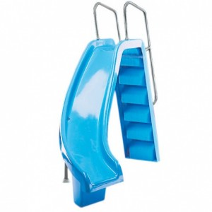 Горка  Curved Slide с поворотом вправо, выс 1,78м., поручни из алюм., цвет синий, Astralpool